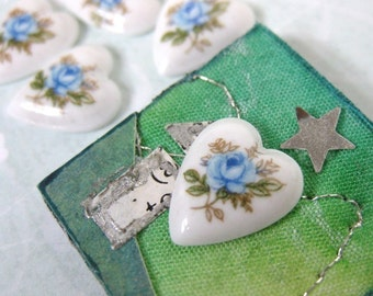 Vintage Glass Cabochon Blue Rose Heart Flower Cameo 12x10mm gcb0333 (6)