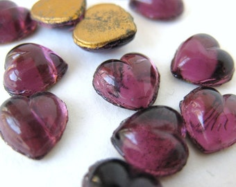 Vintage Glass Cabochon. Amethyst Heart, Tiny Royal Purple 7mm gcb0341 (12)