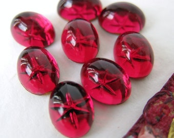 Vintage Glass Cabochon Rose Pink Ruby Star Swarovski Crystal Intaglio Reverse 8x6mm swa0088 (8)