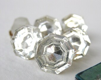 Vintage Rhinestone Buttons. Crystal Jewel Mirrored Glass, 1940s Germany but0140 (6)