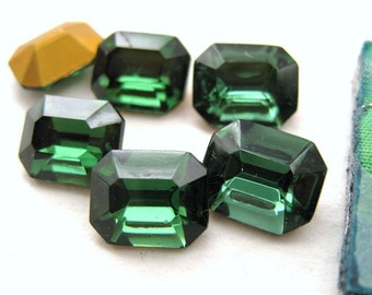 Vintage Rhinestone Jewel Turmaline Green Glass Octagon 10x8mm Czech rhs0168 (6)