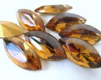Vintage Glass Rhinestone Jewel. Navette Smoked Topaz Czech 15x7mm rhs0184 (8)