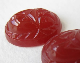 Vintage Glass Cabochons. Carnelian Scarabs, 16x12mm gcb0395 (2)