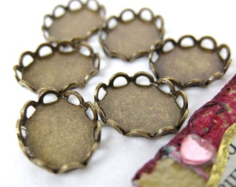 Cameo Settings Antiqued Brass Filigree Lace Edge 10x8mm Cabochons Vintage Style set0087 (6)
