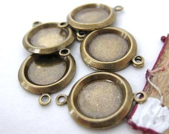Cameo Setting Antiqued Brass Frame 2 Ring Cabochon Bezel 10mm set0095 (6)