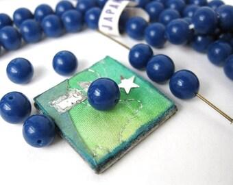 Vintage Beads Glass Blue Royal Navy Round Japan 8mm vgb0327 (18)