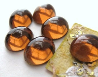 Vintage Glass Cabochon. Topaz Golden Ovals 12x10mm gcb0437 (6)