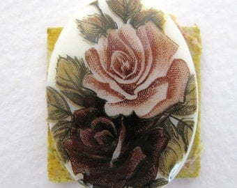 Vintage Flower Cameo Cabochon. Glass Burgundy and Dusty Rose 30x22mm gcb0461 (1)