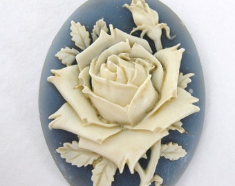 Vintage Flower Cabochon Cameo Ivory Rose Blue Resin 40x30mm pcb0186 (1)
