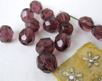 Vintage Beads Glass Faceted Amethyst Rounds 8mm vgb0360 (15)