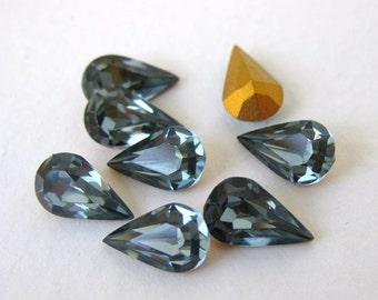 Vintage Rhinestone Swarovski Crystal Pear Indian Sapphire Teardrop Jewel 10x6mm swa0725 (8)