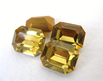 Swarovski Crystal Vintage Rhinestone Light Topaz Octagon Jewel 10x8mm swa0137 (4)