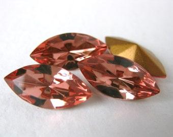 Vintage Swarovski Crystal Rhinestone Peach Navette Jewel 15x7mm swa0195 (4)