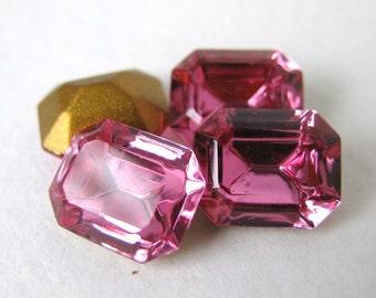 Swarovski Crystal Vintage Rhinestone Rose Pink Octagon Jewel 10x8mm swa0211 (4)