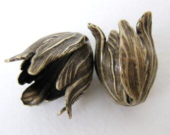 Antiqued Brass Tulip Flower Bead Cap Brass Ox Vintage Style 22mm bcp0001 (2)
