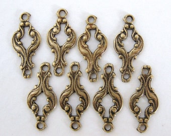 Antiqued Brass Ox Scroll Filigree Connector Drop Link Charm 16mm cnn0006 (8)