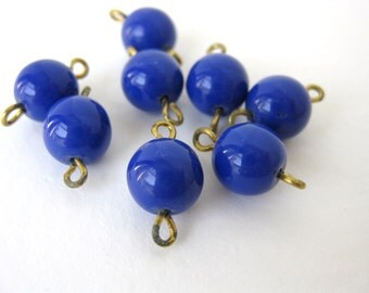 Vintage Japanese Beads Glass Royal Blue Connector Links Charms Drops Wire vgb0425 (8)
