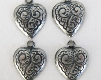 Brass Vintage Heart Charm Embossed Antiqued Silver 14mm chm0029 (8)