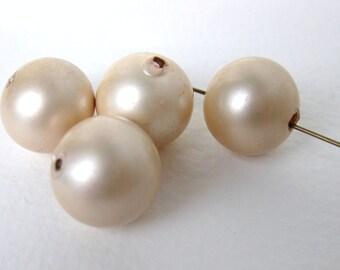 Vintage Bead Glass Pearls Ivory Satin Large 16mm vgp0278 (4)