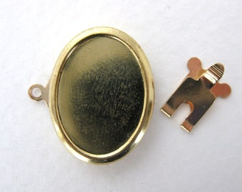 Vintage Box Clasp One Strand Brass Oval Setting for 18x13mm Cabochon vfd0171 (2)