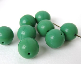 Vintage Glass Beads Large Green Rounds Retro Color 12mm vgb0437 (8)