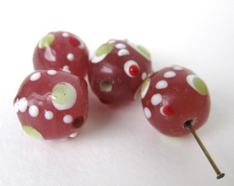 Vintage Glass Bead Cranberry Pink Dotted Lampwork Focal Round 14mm vgb0481 (4)