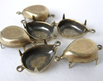 Rhinestone Prong Setting Antiqued Brass Ox Pear Closed Back 2 Ring 15x11mm set0124 (6)