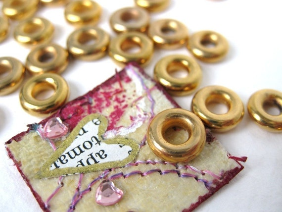 Vintage Lucite Gold Ring Beads, West Germany 8mm vpb0035 (24)