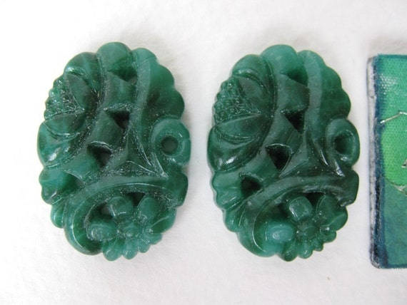 Vintage Glass Cabochon Flower Jade Green Carved Style Japan 25x18mm, gcb0172 (2)