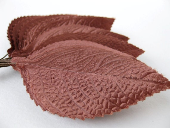 Vintage Millinery Leaves, Chocolate Brown Fabric Large 1950s Japan, 3 inches vml0001 (6)