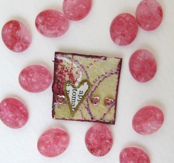 Vintage Glass Cabochon, Rose Pink Carved Flowers, 1940s Japan 12x10mm gcb0048 (8)
