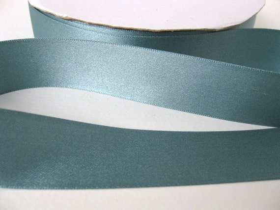 Vintage Ribbon. Dusky Teal Satin 1 inch 1960's English rib0062 (2 yards)