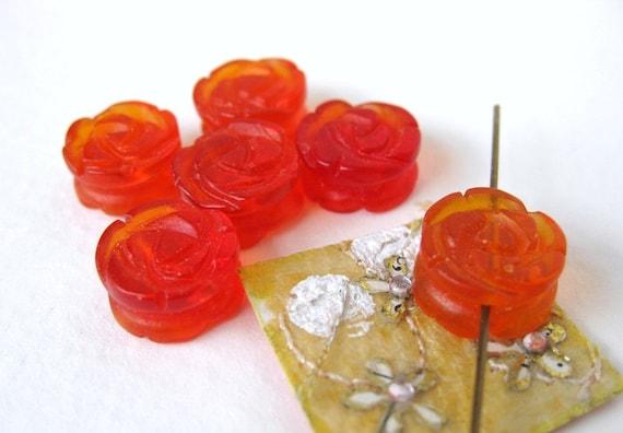 Vintage Beads Glass Flower Rose Hyacinth Orange Coin Shape 12mm vgb0258 (5)