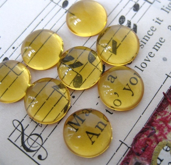 Vintage Glass Cabochon, Topaz Magnifying Transparent Rounds, 9mm gcb0345 (8)