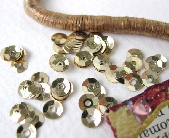 Vintage Antique French Metal Sequins, Gold Cupped, 1930's, 4mm sqs0022 (100)