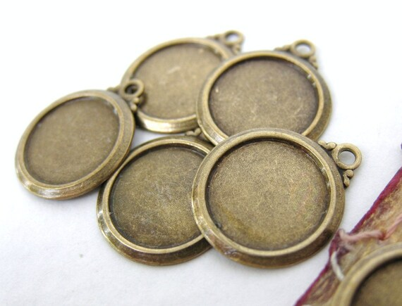 Brass Setting Cameo Round Frame Antiqued Vintage Style 10mm set0094 (6)