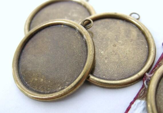 Antiqued Brass Ox Vintage Style Setting Frame Bezel for 18mm Cabochon set0096 (4)