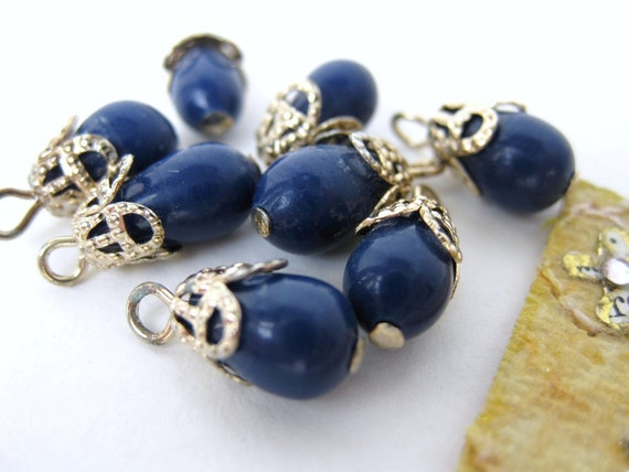Vintage Japanese Beads Glass Blue Navy Drops Gold Bead Cap Filigree 8mm vgb0333 (8)