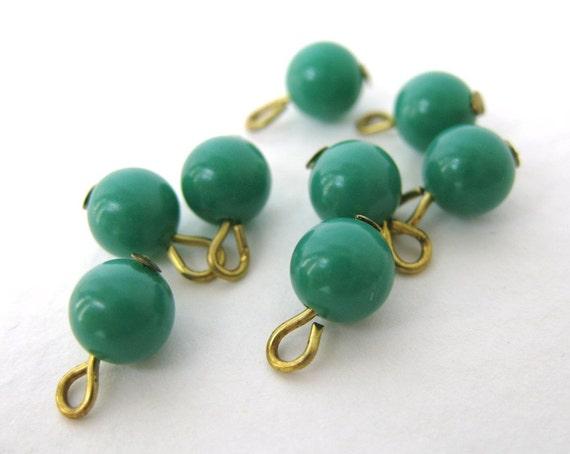 Vintage Glass Bead Drops Jade Green Looped Headpins Japan 6mm vgb0328 (10)