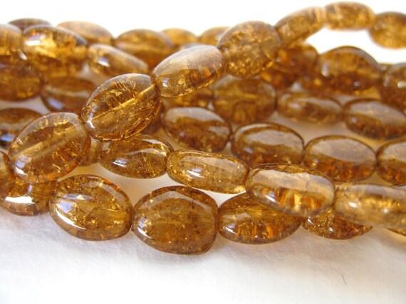 Vintage Glass Beads. Amber Crackle Ovals 8mm vgb0362 (24)