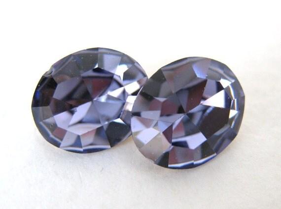 Vintage Rhinestone Swarovski Crystal Tanzanite Jewel Oval 12x10mm swa0201 (2)