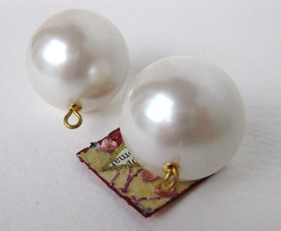 Vintage Bead Drops Faux Pearl Ivory Huge Rounds Loop 25mm vgp0260 (2)