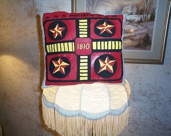 primitive painted game board pillow decorative use PARCHESSI~