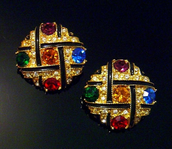 Vintage Jewel Tone rhinestone Earrings