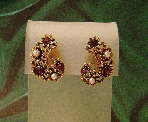 Vintage LISNER Earrings faux pearl & rhinestones