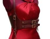 Jillian Cranberry Leather Underbust Harness Corset Belt Waist Cincher Steampunk with Gear Chain Detail