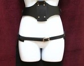 Mad Maxine Harness and Tux Tail Skirt Set Black Leather