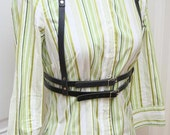 Annabelle Black Leather Harness Belt with Double Belts Steampunk