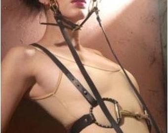 Gracie Black Leather Harness Wearable Art Steampunk Snaffle Bit Fashion Belt