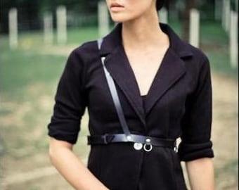 Raven Black Leather Harness Belt Slanted Strap